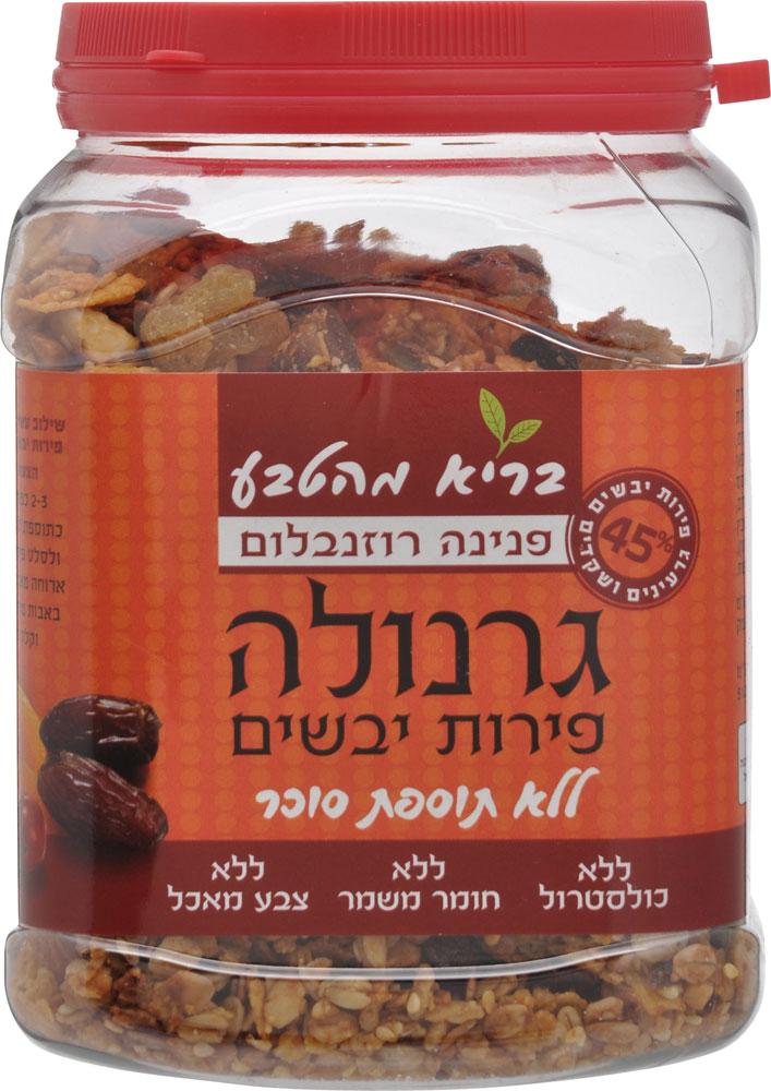 Granola with Dried Fruits Sugar Free Pnina Rosenblum 450G
