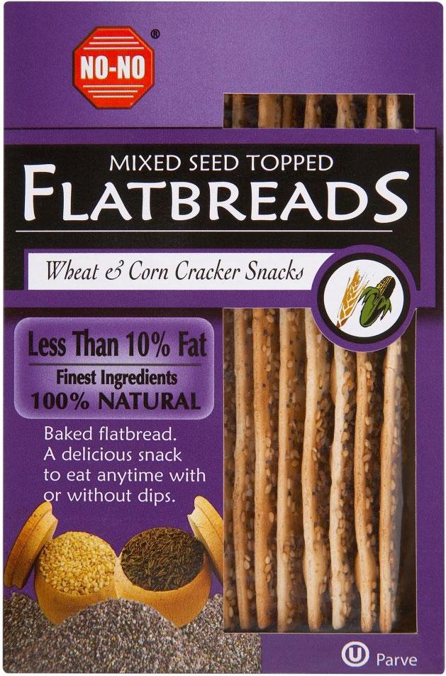 No-No Low Fat Mixed Seed Wheat & Corn Flat Breads 125G