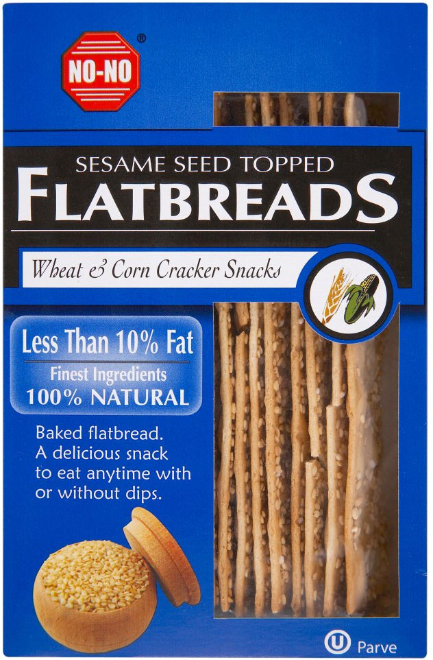 No-No Low Fat Sesame Seed Wheat & Corn Flat Breads 125G