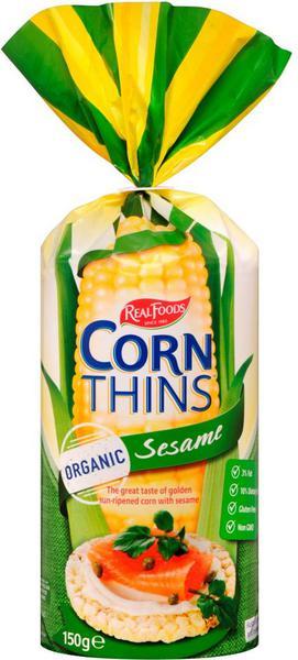 Real Food Corn Thin Organic Sesam (Green) 150G