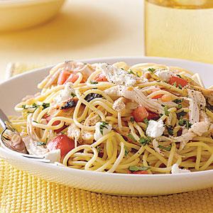 Spaghetti With chicken and mushroom sauce